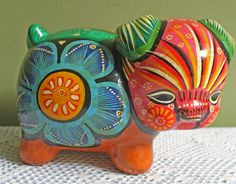 Piggy Bank.  Pottery  Piggy Bank with Hand Painted Mexican Art Decor. Vibrant Ethnic Colors Coin Container. by AnythingDiscovered on Etsy