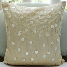 Ivory Pearls - Throw Pillow Covers - 18x18 Inches Silk Pillow Cover with Mother of Pearl Embroidery