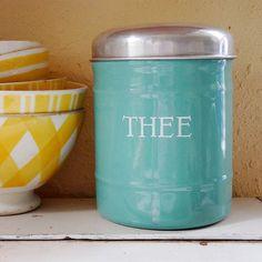 vintage enamelware (Dutch tea canister) – available at AtticAntics, $42.50