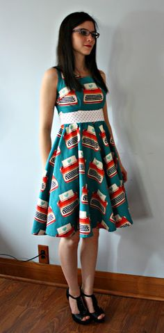 Typewriters Dress || Sew Sweetness #sewing  I like the dress pattern...not necessarily the fabric choice.
