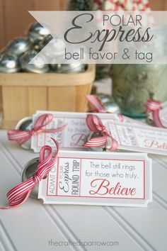 Polar Express Bell Favors & Printable Tags - thecraftedsparrow.com