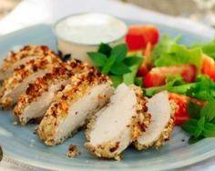 Chicken with Curried Yogurt Crust Recipe Almond Chicken, Peanut Chicken, Pretzel Chicken, Fried Chicken Recipes, Baked Chicken, Turkey Cutlets, Food Porn, Good Food, Yummy Food