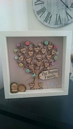 Framed family tree picture, personalised with wooden hearts and scrabble style tiles Más Hobbies And Crafts, Diy And Crafts, Arts And Crafts, Wood Crafts, Craft Gifts, Diy Gifts, Family Tree With Pictures, Cuadros Diy, Family Tree Frame
