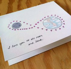 I Love You to the Moon and Back Greeting Card 4.25 by HushandGael, $5.00