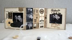 Collection Capsule de Mars pour Florilèges Design: Mini album accordéon avec un cadre en médium sur la couverture (15x15) de Scrapucine: Partie intérieure 25-03-2016