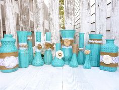 Turquoise RUSTIC, SHABBY CHIC Vases with Burlap and Lace, set of 12