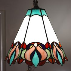 Stylized Floral Stained Glass Swag Lamp by helixartandglass, $425.00