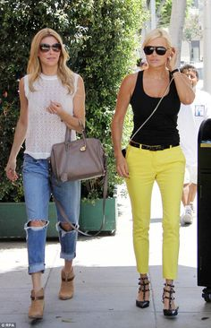 On-set: Brandi Glanville and Yolanda Foster were seen strolling up a chic street in Beverl...