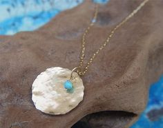 Large Gold Disc Necklace  Select Your Birthstone  by ravitschwartz, $39.80