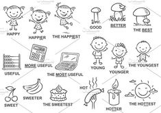 Degrees of comparison of adjectives in pictures - no gradients, both coloured and black and white. Large jpeg, transparent png for easy layering and vector eps Adjectives Activities, Learning Activities, English Words, English Language, English Grammar, Language Arts, English Class, English Lessons, Degrees Of Comparison