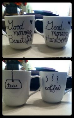 The mugs I made for our home! Unfortunately (I was afraid this would happen) my boyfriend accidentally put them in the dishwasher and the sharpie almost all came off so I will definitely use a better quality marker for crafts when I stencil in the design again!
