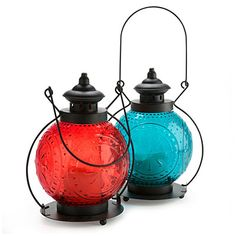 Outdoor accent lighting...clearance prices now...hmmm Wilson & Fisher® Color Glass Lanterns at Big Lots.