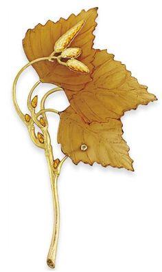 Lalique 1900 'Autumn Leaves Brooch: gold/ horn/ enamel