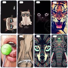 Grumpy Cute Cat Tiger Sexy Girl Elephant Hard Plastic Case Cover For Huawei Ascend Lite Mini 2017 Lite Plus Cat Tiger, Cat Store, P8 Lite, Cat Gifts, Grumpy Cat, Sexy, Plastic Case, Minis, Catio