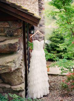 ruffled Badgley Mischka wedding gown // photo by Clayton Austin // http://ruffledblog.com/new-york-lakeside-wedding