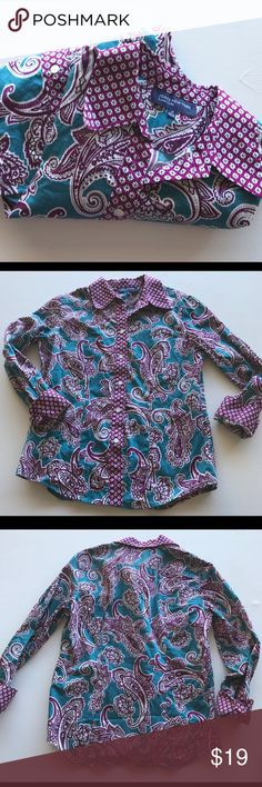 "Jones New York Paisley Floral Blouse sz M 100% cotton, long sleeve blouse is a pretty mix of teal, white & purple. Arm- pit to arm- pit approx 19"", length approx 25"" shoulder seam to hem. Jones New York Tops Button Down Shirts"