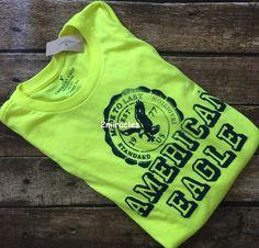 American Eagle Mens Signature Graphic Green Yellow Long Sleeve Shirt M NWT…