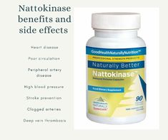Have you heard about Nattokinase benefits and side effects? Nattokinase comes from a Japanese dish called natto, it's really good for some health conditions. Reducing High Blood Pressure, Lower Blood Pressure, Peripheral Artery Disease, Clogged Arteries, Poor Circulation, Heart Conditions, Healthy Heart, Circulatory System, Reduce Cholesterol