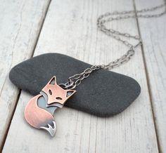 Foxy & Cute! Pendant Copper and Sterling Silver