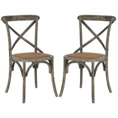 Set of 2 Franklin Ferrat X-Back Dining Chair Walnut - Safavieh Bistro Chairs, Solid Wood Dining Chairs, Dining Chair Set, Dining Room Chairs, Side Chairs, Kitchen Chairs, Furniture Chairs, Kitchen Dining, Bentwood Chairs