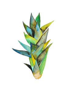 Watercolor Houseplant Print.  Sansevieria Plant by SnoogsAndWilde