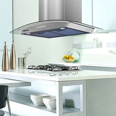 Winflo 30 Island Stainless Steel//Tempered Glass Convertible Range Hood with Touch Control Aluminum Filters and LED Lights