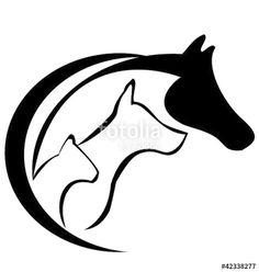 Vetor: Horse dog and cat logo silhouette vector