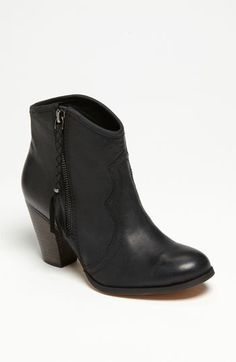 "ALDO 'Fastrost' Boot | Nordstrom  Sale:  $86.90  Black Leather  A classic stacked heel supports a vintaged, oiled boot perfected with a decorative Western cut and braided side zip.        As seen in Us Weekly.      Side zip closure.      Approx. heel height: 3"".      Approx. boot shaft height: 5"".      Leather upper and lining/resin sole.      By ALDO; imported.      BP. Shoes."