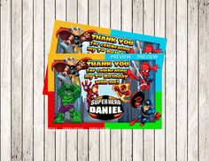 SUPER HERO Squad Thank You Card Super Hero by MyDreamPartyShop