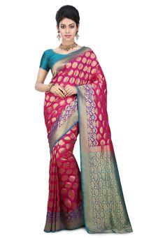 Pure Banarasi Silk Saree in Fuchsia