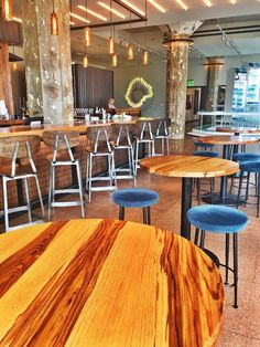 An out-of-use industrial building redeveloped into a museum, hotel, and farm-to-table restaurant! An amazing boutique hotel in OKC! Museum Hotel, Industrial Interiors, Oklahoma City, Restaurant, Vacation, Table, Furniture, Home Decor, Vacations