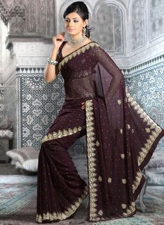 Embellished Dark Purple Georgette Saree