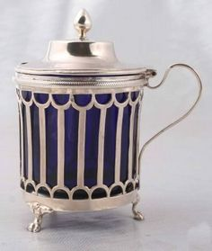 he earliest silver mustard-pots are dated 1724 and bear the marks of Jacob Margas and of Paul de Lamerie. Once they had settled into general favour, the silversmiths introduced a variety of shapes and decoration and barrel-shaped, boat-shaped, oval, rectangular or octagonal mustard-pots were produced.
