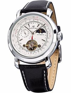 Men's Watches Analytical Cool Brand Fashion Double Tourbillon Mechanical Watches Self-winding Leather Strap Mens Dress Wrist Watch Roman Moon Phase Watch Mechanical Watches