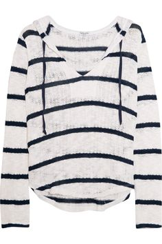Shop on-sale Splendid Hooded striped open-knit cotton and modal-blend sweater. Browse other discount designer Tops & more on The Most Fashionable Fashion Outlet, THE OUTNET.COM