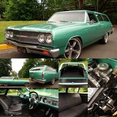 Sweet 1965 Chevrolet Malibu Wagon! Frame off restoration, finished in beautiful Turquoise paint with excellent chrome, glass, and stainless.Black power bucket seat upholstery, custom sound system, tilt column, custom steering wheel, vintage air conditioning, power steering, and power disc brakes. Runs and drives excellent with the ZZ4 350 V8 and 700r4 automatic transmission.2 door Wagons are ultra rare and highly collectible$41,400