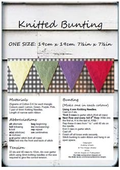 The Design Studio: Free Hand Knitting Pattern for Bunting. Very helpful instructions