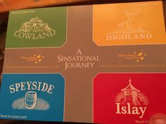 The Scotch Whisky Experience, scented postcards (four aromas). A visitor memento that also aids whisky taste understanding.