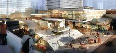 32层滨水商业广场建筑设计效果图