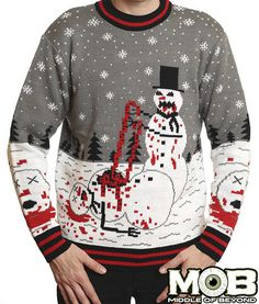 Product in Stock Ships in 1-2 Days From the snow they rise looking for braaaaains! This sweater is made of 100% acrylic. Black, white, red, and grey in color. It has a zombie snowman eating his victim