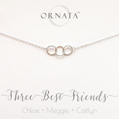 """Three Best Friends"" Personalized Sterling Silver Necklace 