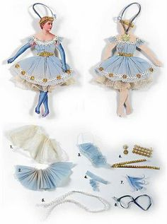 Victorian paper doll ornament: Add the girls some bunny ears or Easter bonnet, a basket and flowers and ribbons all over. :-)