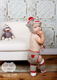 Sock Monkey Hat, Leg Warmers, and Diaper Cover Set- Crochet Hat - Leg Warmers - Diaper Cover - Boy or Girl - Photo Prop