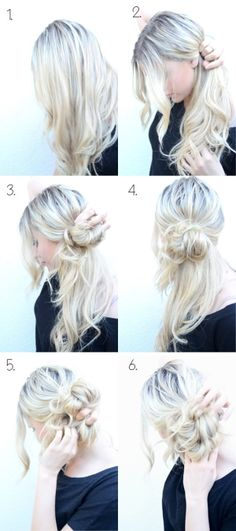 Messy side bun. Step by step///the fact that people NEED directions on how to do this is hilarious!!