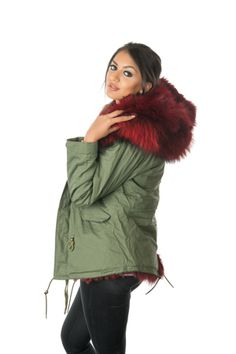 Blue Faux Fur Hooded Full Fleece Parka Coat Khaki Green | fashion ...
