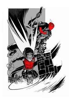 Red Robins Jason Todd (Red Hood) and Damien Wayne (Robin) by Dan Mora.