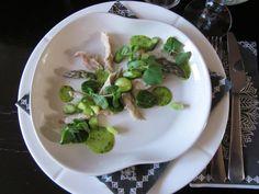 Smoked mackerel with wild garlic mayonnaise and vernal green.
