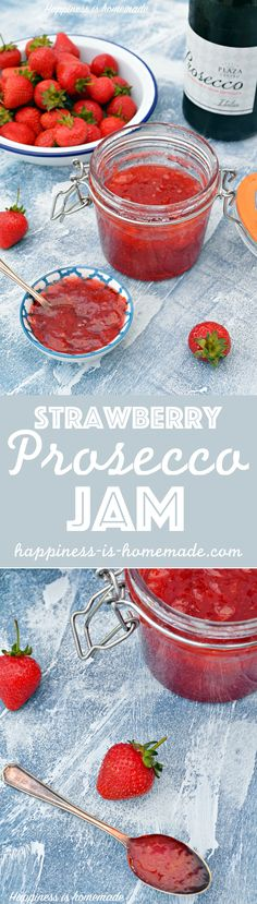 Boozy jam! Yes, you read it right - strawberry and Prosecco jam. Delicious and so easy to make!