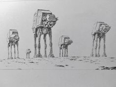 """""""Imperial Walkers"""" by Mark Crilley.  Artist states he only used tiny dots to make this.  Thought it was cool."""