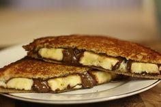 My breakfast tomorrow:  Grilled Banana Nutella Sandwich Tutorial